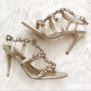 Sam Edelman 'Selena' jewelled gold dress sandals